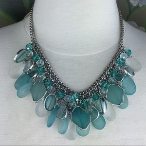 Charming Charlie Teal Beaded Statement Necklace